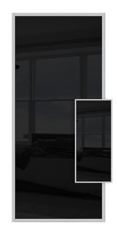 Domalti Double Sided Sliding Wardrobe Door - Black Glass & Black Glass