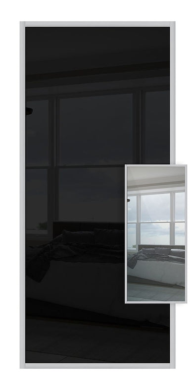 Domalti Double Sided Sliding Wardrobe Door - Black Glass & Mirror