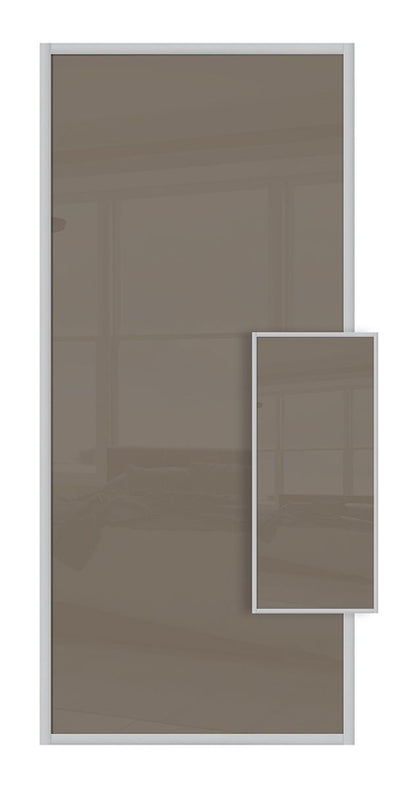 Domalti Double Sided Sliding Wardrobe Door - Cappuccino & Cappuccino Glass