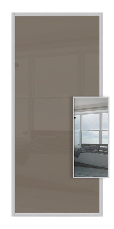 Domalti Double Sided Sliding Wardrobe Door - Cappuccino Glass & Mirror