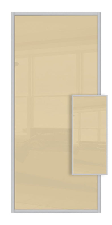 Domalti Double Sided Sliding Wardrobe Door - Cream Glass & Cream Glass