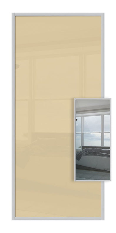 Domalti Double Sided Sliding Wardrobe Door - Cream Glass & Mirror