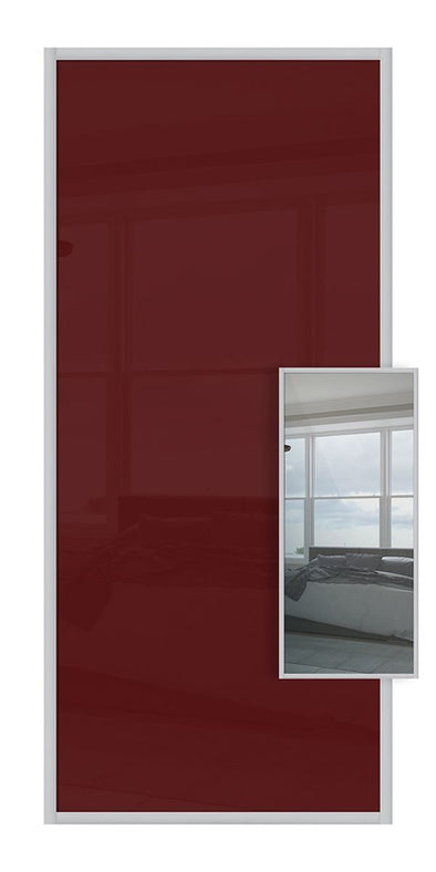 Domalti Double Sided Sliding Wardrobe Door - Maroon Glass & Mirror