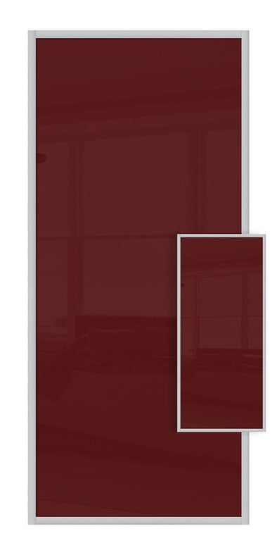 Domalti Double Sided Sliding Wardrobe Door - Maroon & Maroon Glass
