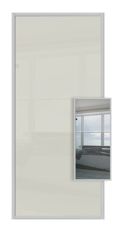 Domalti Double Sided Sliding Wardrobe Door - Soft White Glass & Mirror