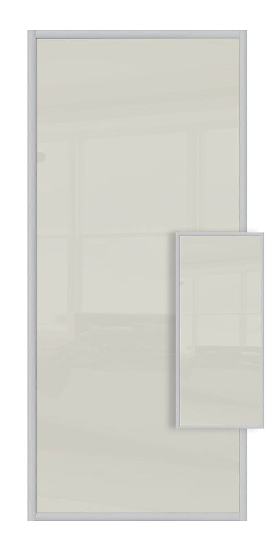 Domalti Double Sided Sliding Wardrobe Door - Soft White Glass & Soft White Glass