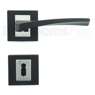 Interior Door Handle Pair - Lever on Rose - Matt Black Finish ZA3
