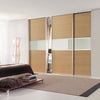 Classic Maple Frame Black/Black/Black Glass Sliding Wardrobe Door