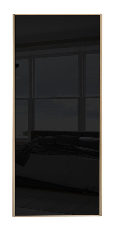 Classic Maple Frame Black Glass Sliding Wardrobe Door
