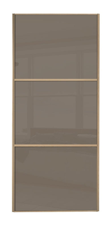 Classic Maple Frame Cappuccino/Cappuccino/Cappuccino Glass Sliding Wardrobe Door