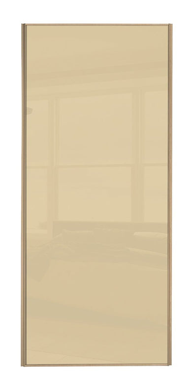 Classic Maple Frame Cream Glass Sliding Wardrobe Door