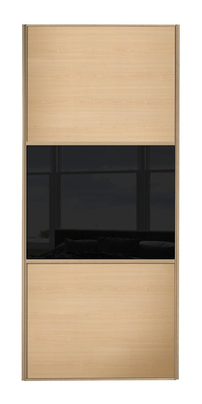 Classic Maple Frame Maple/Black Glass/Maple Sliding Wardrobe Door