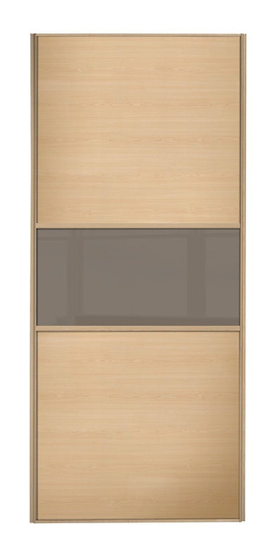 Classic Maple Frame Maple/Cappuccino Glass/Maple Panel Sliding Wardrobe Door