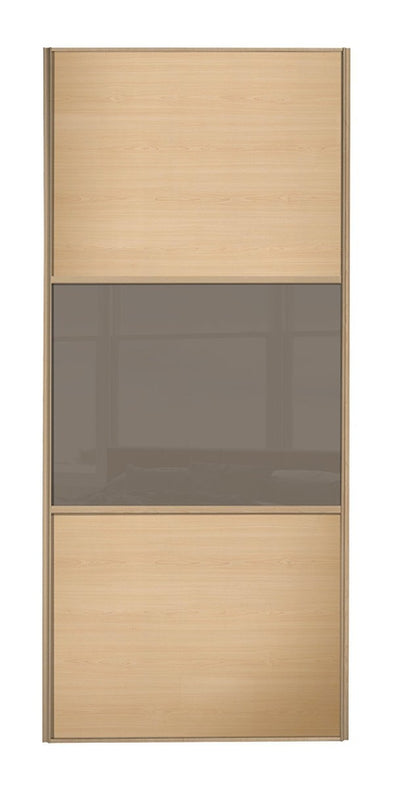 Classic Maple Frame Maple/Cappuccino Glass/Maple Sliding Wardrobe Door