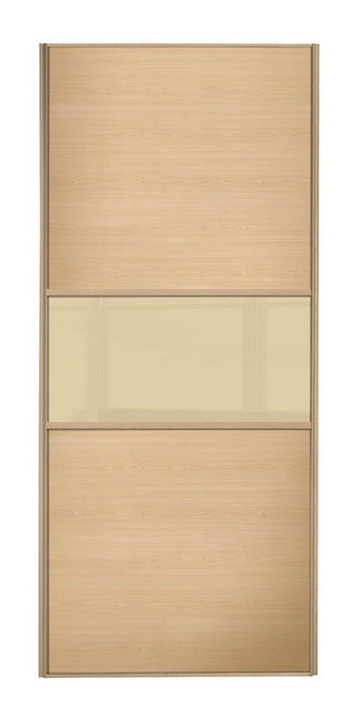 Classic Maple Frame Maple/Cream Glass/Maple Panel Sliding Wardrobe Door