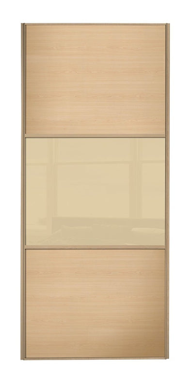 Classic Maple Frame Maple/Cream Glass/Maple Sliding Wardrobe Door