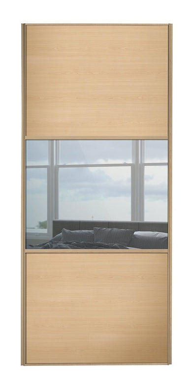 Classic Maple Frame Maple/Mirror/Maple Sliding Wardrobe Door