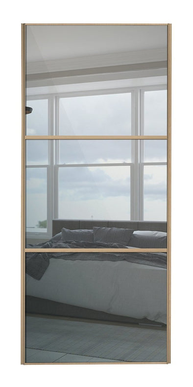 Classic Maple Frame Mirror/Mirror/Mirror Sliding Wardrobe Door