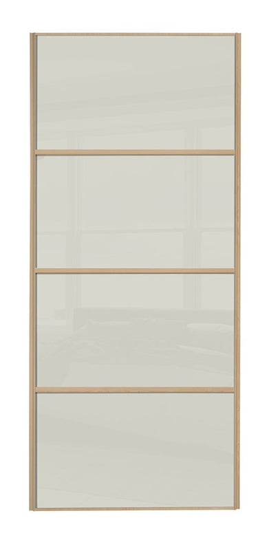 Classic Maple Frame Soft White Glass 4 Panel Sliding Wardrobe Door