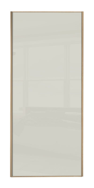 Heritage Maple Frame Soft White Glass Sliding Wardrobe Door