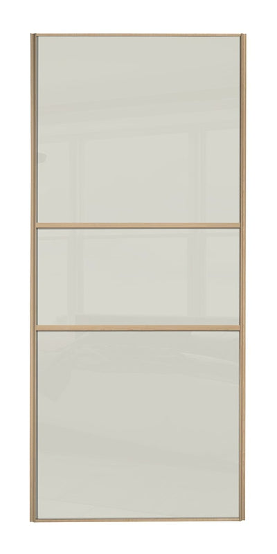 Classic Maple Frame Soft White/Soft White/Soft White Glass Sliding Wardrobe Door