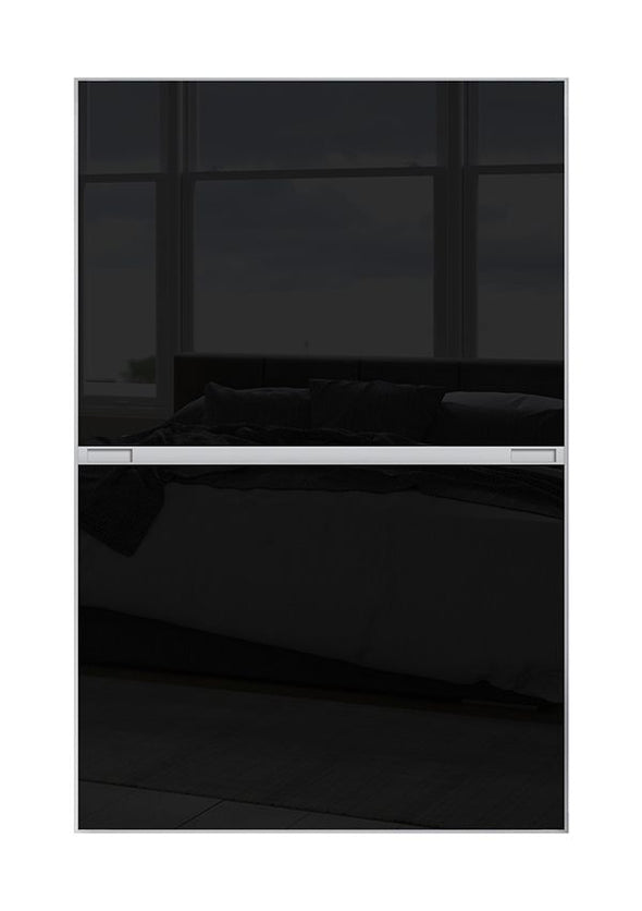 Minimalist 2 panel silver frame sliding wardrobe door with black glass