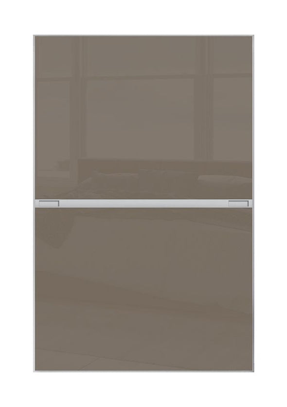 Minimalist 2 panel silver frame sliding wardrobe door with cappuccino glass
