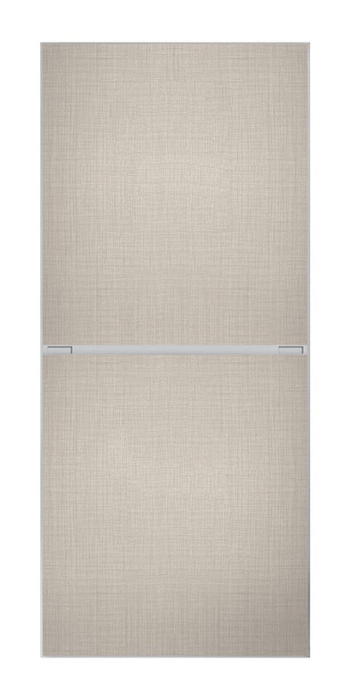 Minimalist 2 panel silver frame sliding wardrobe door with linen panels