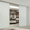 Minimalist 2 panel silver frame sliding wardrobe door with oak panels