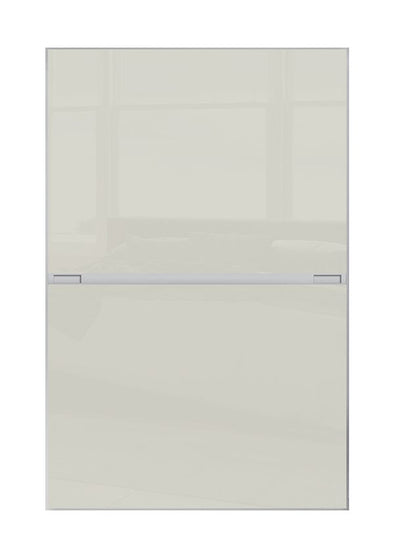 Minimalist 2 panel silver frame sliding wardrobe door with soft white glass
