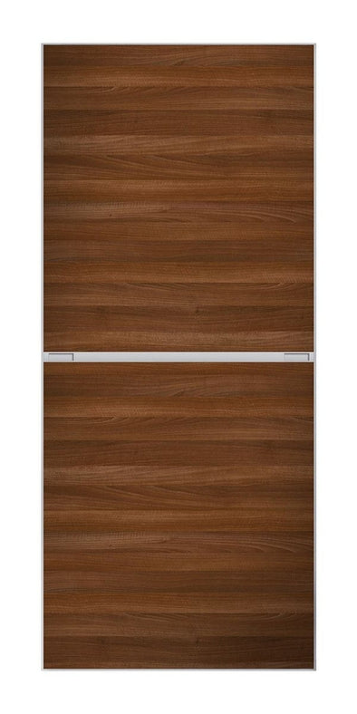 Minimalist 2 panel silver frame sliding wardrobe door with walnut panels