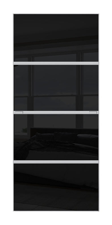 Minimalist 4 panel silver frame sliding wardrobe door with black glass