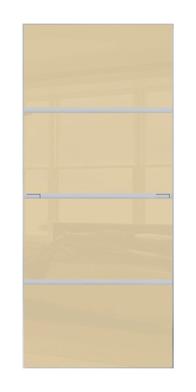 Minimalist 4 panel silver frame sliding wardrobe door with cream glass