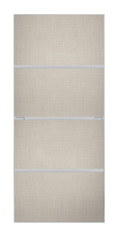 Minimalist 4 panel silver frame sliding wardrobe door with linen wood panels