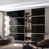 Minimalist 4 panel silver frame sliding wardrobe door with mirror