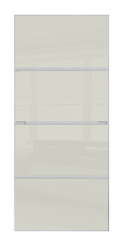 Minimalist 4 panel silver frame sliding wardrobe door with soft white glass