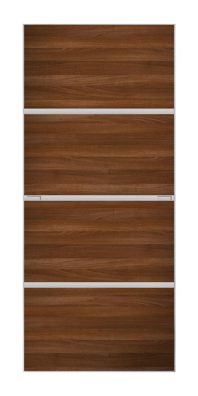 Minimalist 4 panel silver frame sliding wardrobe door with walnut panels