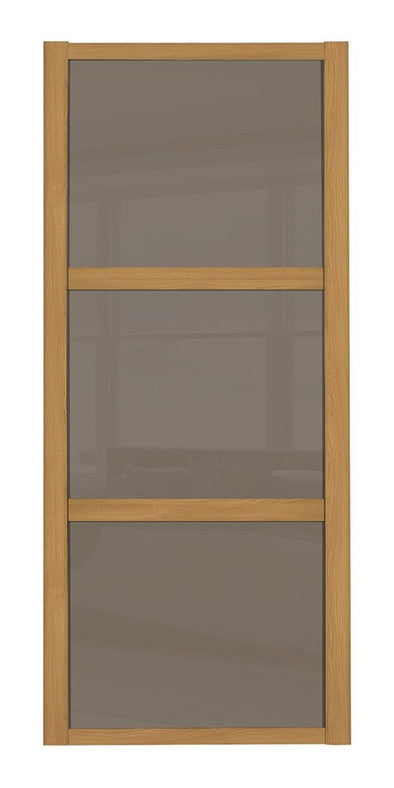 Oak Frame Cappuccino Glass 3 Panel Shaker Sliding Wardrobe Door