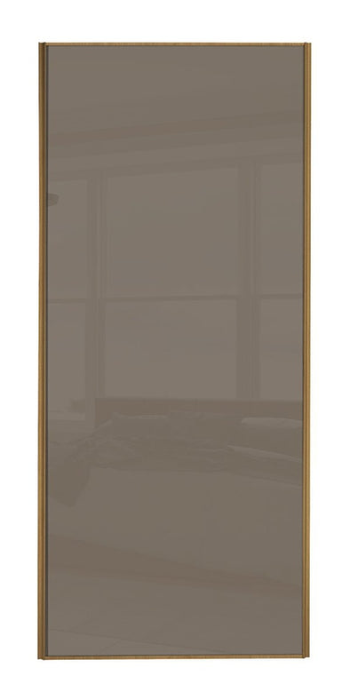 Classic Oak Frame Cappuccino Glass Sliding Wardrobe Door