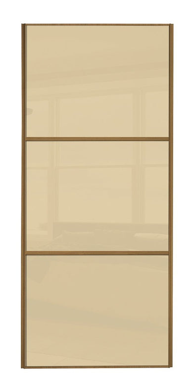 Classic Oak Frame Cream/Cream/Cream Glass Sliding Wardrobe Door