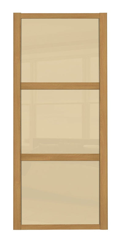 Oak Frame Cream Glass 3 Panel Shaker Sliding Wardrobe Door