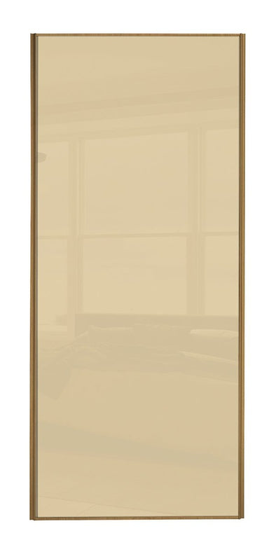 Classic Oak Frame Cream Glass Sliding Wardrobe Door