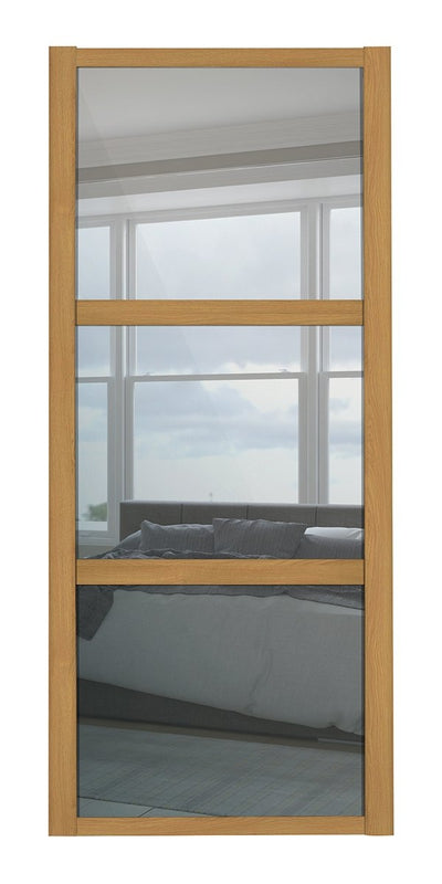 Oak Frame Mirror 3 Panel Shaker Sliding Wardrobe Door