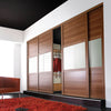 Oak Frame Oak/Black Glass/Oak 3 Panel Shaker Sliding Wardrobe Door