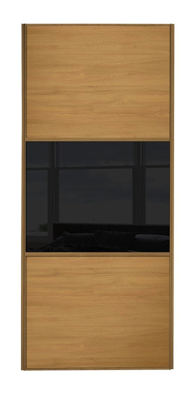 Classic Oak Frame Oak/Black Glass/Oak Sliding Wardrobe Door