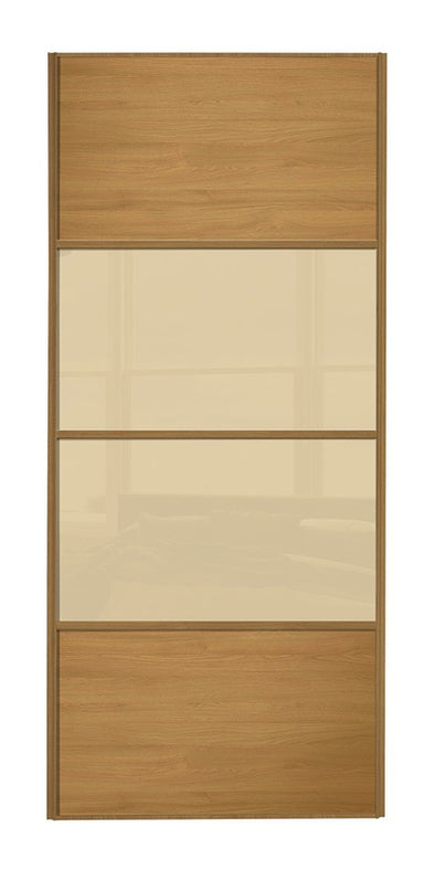 Classic Oak Frame Oak/Cream Glass/Oak 4 Panel Sliding Wardrobe Door