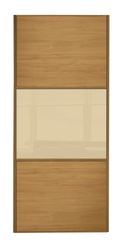 Classic Oak Frame Oak/Cream Glass/Oak Sliding Wardrobe Door
