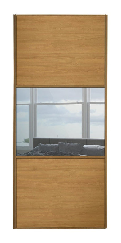 Classic Oak Frame Oak/Mirror/Oak Sliding Wardrobe Door