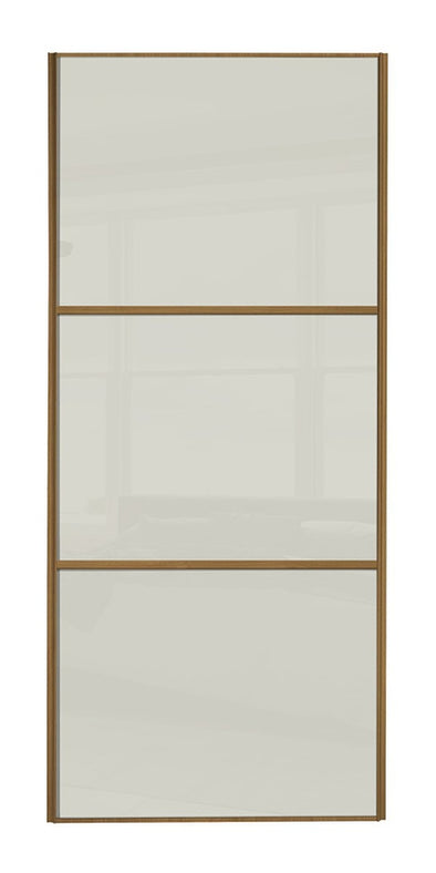 Classic Oak Frame Soft White/Soft White/Soft White Glass Sliding Wardrobe Door