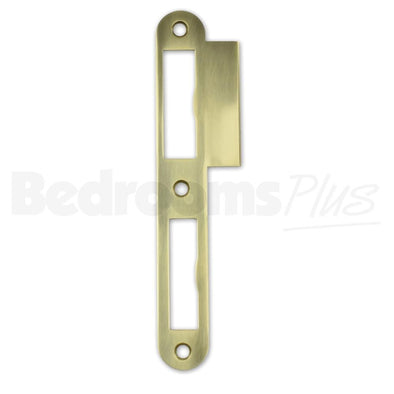 Polished Brass Strike Locking Door Plate - DIN L - For Single & Double-Turn ZB7
